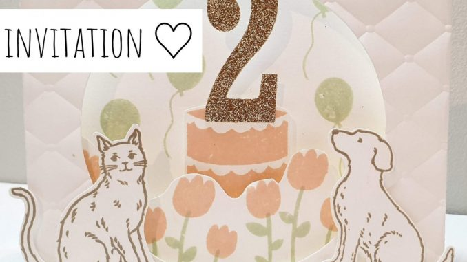 Invitation anniversaire 2ans chien et chat